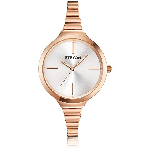 ETEVON Women's Quartz Simple Rose Gold Watch with Slim Bracelet, Fashion Watches for Women Ladies