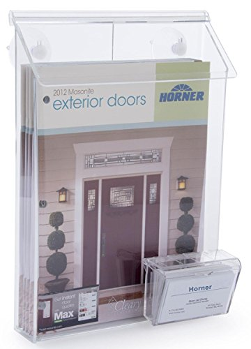 """Literature Holder Mounts on Window, 9""""W x 11""""H Pocket, Lid Snaps Shut, Includes Business Card Holder, Clear Acrylic"""