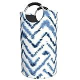 LKTBJEMFY Cesta de lavandería con ondas de acuarela azul, cesta de lavandería plegable grande con asas de aluminio, cesta organizadora impermeable para baño