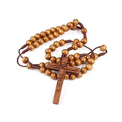 Perles de chapelet Perles de chapelet en bois d'olive faites à la main sans rosables avec médaille Crucifix pour prières chapelet en bois fait un cadeau catholique et chrétien pieux pour hommes femmes