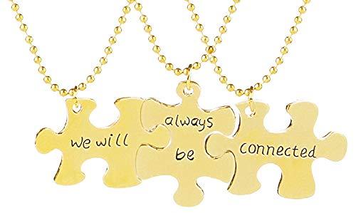 Drie puzzelkettingen - voor 3 - beste vrienden - we zullen altijd verbonden blijven - origineel cadeau-idee - vriendschap - verjaardag - kerstmis - goud - sieraden