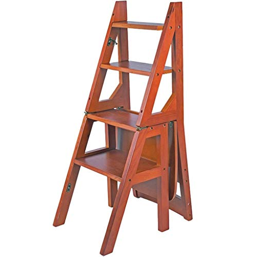 WOYQS Escalera plegable de madera maciza Silla 4 Pasos Escalera ascendente Soporte de flores para estante móvil interior Uso portatil