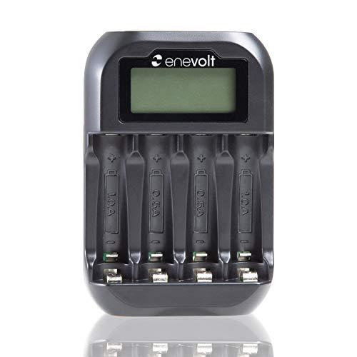 enevolt(エネボルト) USB 充電池用充電器 4スロット 残量表示 モニター搭載 コンパクト 充電池 単3 単4 兼用 USB充電器 ニッケル水素 電池 充電 小型 ブラック