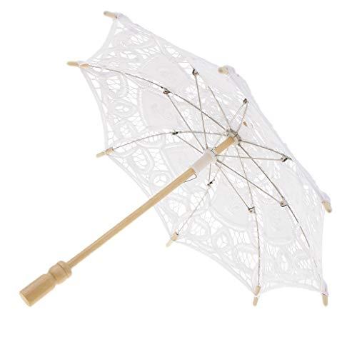 CUTICATE Spitze Sonnenschirm Regenschirm Sonnenschirm Spitze Spitzenschirm Damen Brautschirm - Weiß