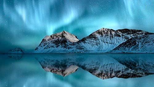 PANDABOOM Rompecabezas De 1500 Piezas, Aurora Boreal sobre Las Islas Lofoten, Noruega, Juguetes Educativos Bricolaje (87 X 57 Cm)