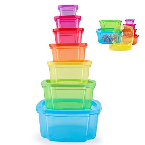 MUXItrade Boites Alimentaires Lot de 7 Boites en Plastique Emboitables + Couvercles,pour Lave Vaisselle, Four à Micro-Ondes et Congélateur