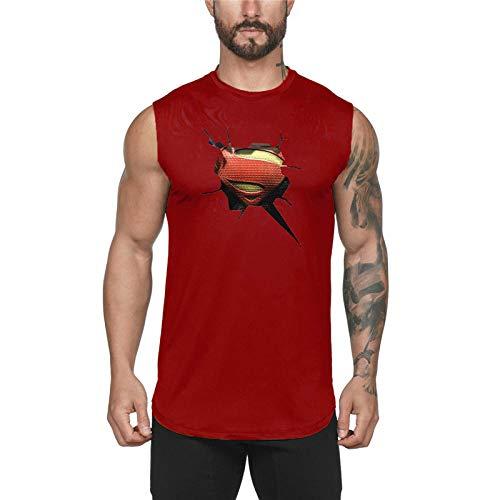 Mens Gym Top Top, Stringer Bodybuilding Deportes T Shirt Paseo de algodón Chaleco Muscular para Correr Gimnasio Deporte Fitness-Vino Tinto_SG