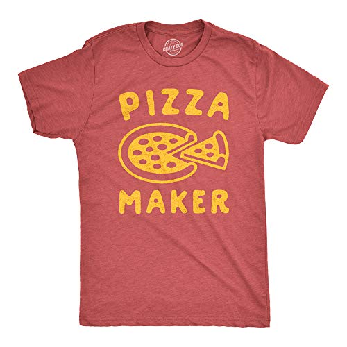 Crazy Dog T-Shirts Mens Pizza Maker Tshirt Funny Italian Food Dad Baby Announcement Tee (Heather Red) - XL