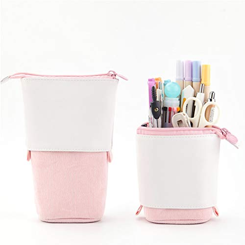 Oyachic Stand up Pencil Case Standing Pencil Holder Transformer Pencil Pouch Telescopic Pen Bag Cute Makeup Bag Cosmetic Organizer Bag Stationery Box for Girls Women (Pink)