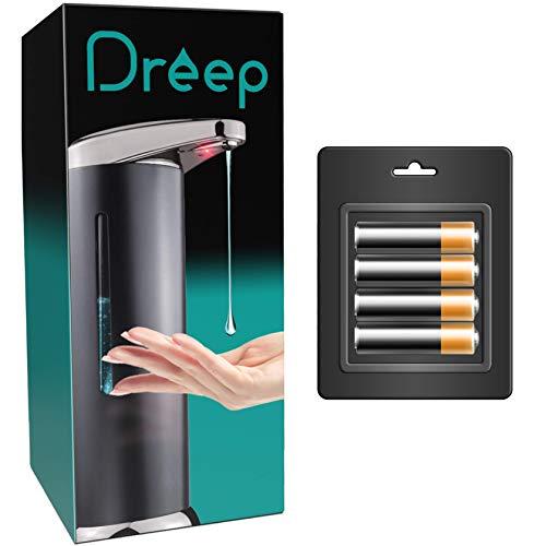 Dreep Dispensador de jabón automático, 4 pilas AAA incluidas, gel hidroalcohólico, líquido para lavar platos, estructura de acero inoxidable, sin contacto, inalámbrico