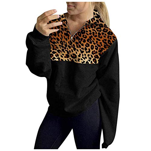 Janly Clearance Sale Long Sleeve Women's Blouse Winter , Women Casual Leopard Print Warm Sweatshirt Pullover Shirts Top Blouse, for Christmas