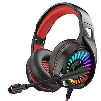 Nivava Gaming Headset for PS4 Xbox One PC Headphones with Microphone LED Light Mic for Nintendo Switch PS5 Playstation Computer K7  Black&Red