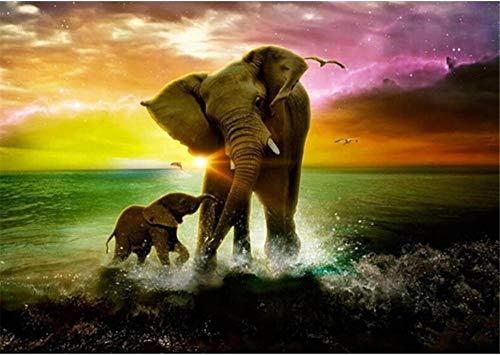Yingxin34 Puzzles de 1000 Piezas para Adultos Puzzles de Dos Elefantes Junto al mar Puzzles de 1000 Piezas 38x26cm