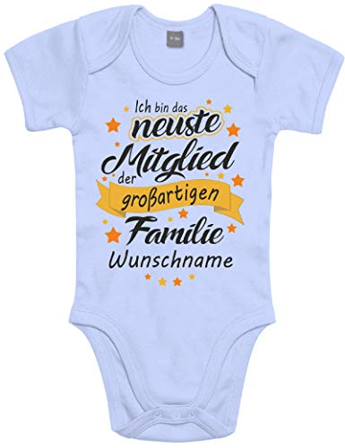 Shirtoo Individueller Baby Body Strampler Ich Bin das neuste Mitglied der großartigen Familie - für Jungen und Mädchen als Geschenk zur Geburt/Erstausstattung