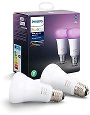 Philips Hue Standaard Lamp 2-Pack - E27 - Duurzame LED Verlichting - Wit en Gekleurd Licht - Dimbaar - Verbind met Bluetooth of Hue Bridge - Werkt met Alexa en Google Home