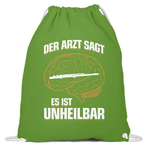 shirt-o-magic Querflöte: .es ist unheilbar - Baumwoll Gymsac -37cm-46cm-LimettenGrün