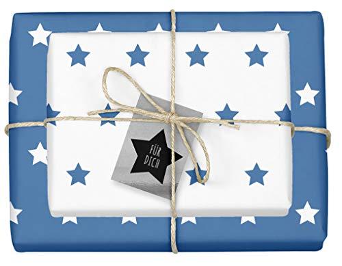 '4X zweifarbiges carta da regalo 'Natale: stelle blu bianco' + 4X Ciondolo 'in acciaio, colore: nero/argento (doppelseitige fogli DIN A2, presenza di riciclaggio della carta)