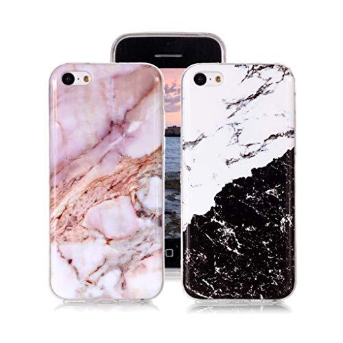 Yunbaozi 2 Funda Mármol para iPhone 5c, Diseño Mármol Carcasa Suave Silicona IMD Piedra Patrón Soft TPU Silicone Case - En Blanco y Negro, Polvo Clásico