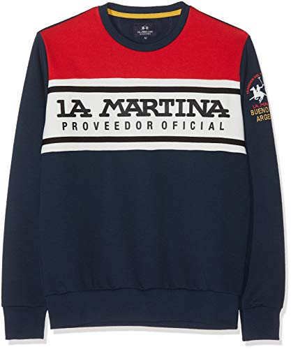 La Martina Herren Man Cotton Crew Neck Fleece Pullover, Blau (Navy 07017), Large