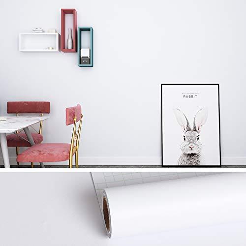 VEELIKE Papel Adhesivo Para Muebles Blanco 0,4 m x 18 m Papel Pintado Autoadhesivo Blanco Mate Papel Pared Cocina Lavable Papel Tapiz Para Pared Baño Decoracion Habitacion PVC Revestimiento De Paredes
