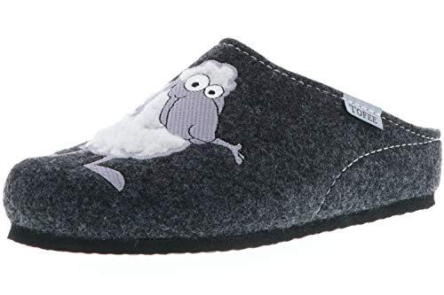 TOFEE Damen Hausschuhe Slipper Pantoffeln Pantoletten Naturwollfilz (Schaf) anthrazit, Größe:39, Farbe:Anthrazit
