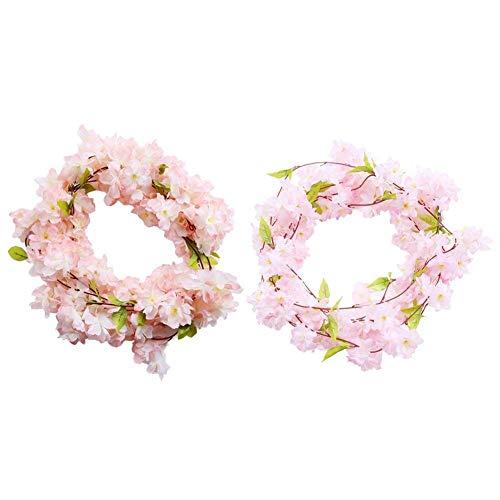 Tarente 2ST 220cm gefälschte Sakura Rebe-Blumen-künstliche Blumen Hängen Heim Hochzeit Gartendeko