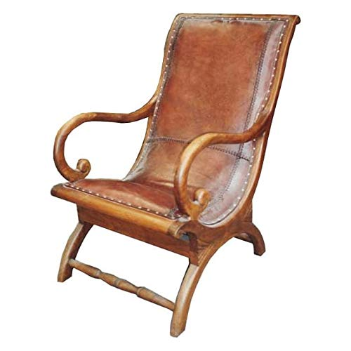 Retro Loungesessel Sessel Stühle Mit Armlehne Echt Leder Holz Kolonialstil Braun