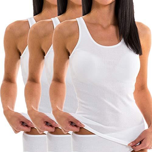 HERMKO 1310 3er Pack Damen Tank Top aus 100% Bio-Baumwolle, Größe:40/42 (M), Farbe:weiß