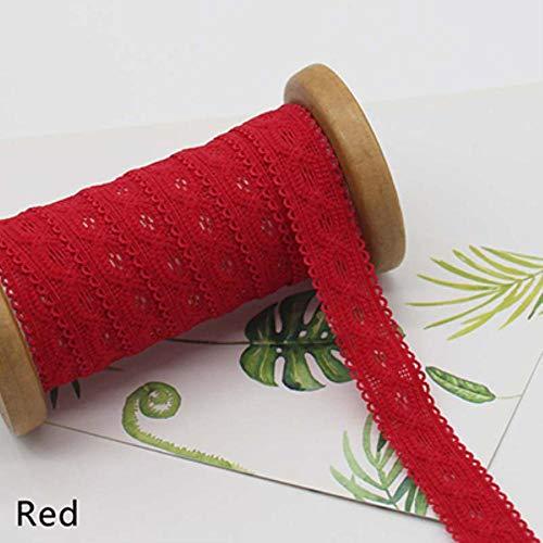 22 meter 20 mm Multicolor elastische band Elastische kanten singels DIY baby haarband Kleding Naaimateriaal Elastisch kant EB002, rood, 20 mm