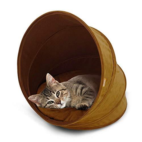 Ygccw Memory Foam Pluche Hond Bedden Hondenmand Bed Dekens Lounger Huisdier benodigdheden Lederen gesloten spiraal kat nest warme kat tent geel, 45 * 45 * 45cm