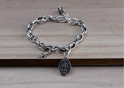 LLXXYY Armband Voor Vrouwen Vintage 925 Sterling Zilver, Graveren Cross Hanger Fijne Graan Ketting Adjistable Sluiting Armbanden Charm Bangle Voor Vrouwen Mannen Baby Meisje Manchet Personaliseren Sieraden