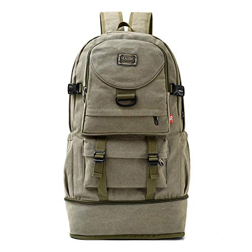 NWJHB Outdoor large-capacity multifunctional sports backpack, travel bag, mountaineering bag, washed canvas leisure bag-ArmyGreen