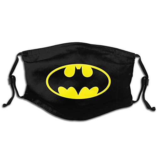 Golden Black Batman Logo Face Mask Balaclava Windproof For Kids Child Dustproof Mouth Cover with 2 FilterAdjustable Elastic Strap Made In USA
