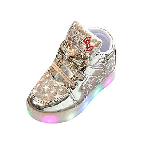 Hirolan Blinkende Kinderschuhe Kleinkind Turnschuhe Star Leuchtend Schuhe Mode Baby Schuhe mit Leuchtsohle Kinder Beiläufig Bunt Lauflernschuhe PU-Leder Mit RGB LED Licht (30, Gold)