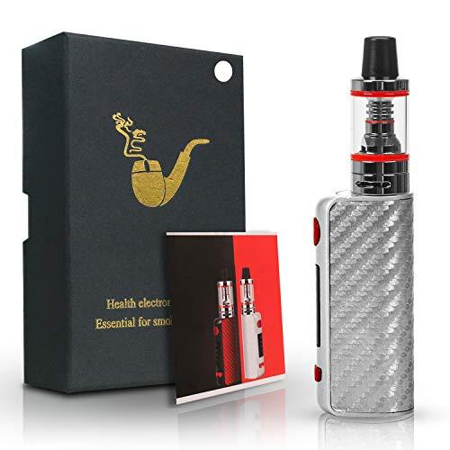 80W E Zigarette Starter Set, 1600mAh Vape Pen Kit, Top Refill 0,35ohm 2,5ml Ezigarette Verdampfer Kopf Tank, Regelbare Watt LED Bildschirm 0,0mg Nikotin(Silver)