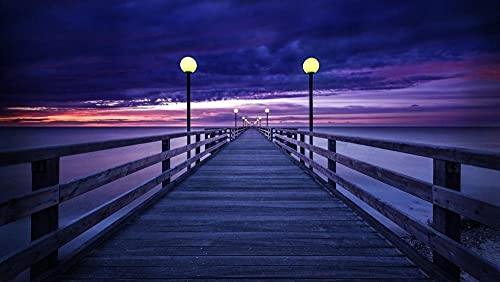 YJYJU Purple Sunset Sky Over Pier 5D Diamond Painting Accessories DIY Full Drill Round Rhinestone Embroidery Canvas by Number Kit Relaxation Gift for Home Wall Decor-40x60cm