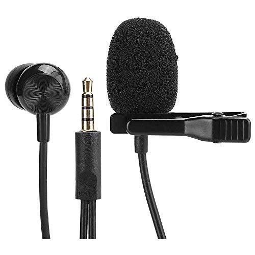 Yuyanshop Micrófono Lavalier, Omnidireccional profesional, micrófono con clip, compatible con portátil, escritorio, iOS, PC y Mac, teléfonos inteligentes