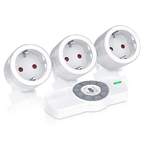 Bearware - Cajas de 3 enchufe de mando a distancia | 1 mando a distancia | Uso en interiores | Indic