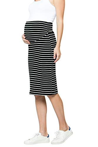 My Bump Maternity Skirt for Women - Comfort Stretch High Waisted Tummy Control Cotton Blend Midi Pencil Skirt Made in USA Black White Large