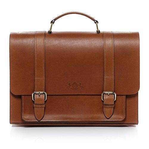 SID & VAIN aktetas echt zadel-leer bristol grote tas tas 15,6 inch laptop kantoor tas laptoptas laptopvak lederen tas heren, Lichtbruin-cognac (bruin) - 60000001
