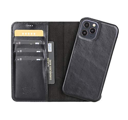 FREDO Funda de piel compatible con iPhone 12 de 6,1 pulgadas, funda extraíble 2 en 1, incluye tarjetero para Apple iPhone 12 de 6,1 pulgadas, con imán, color negro