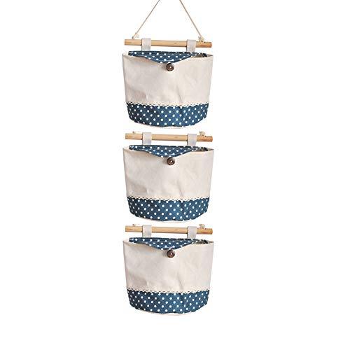 Haodou Hängende Lagerung Tasche 3 Taschen Wand Montiert Kleiderschrank Beutel Kosmetik Kleinigkeiten Spielzeug Organizer Schlafzimmer Bad Halter (Blau)
