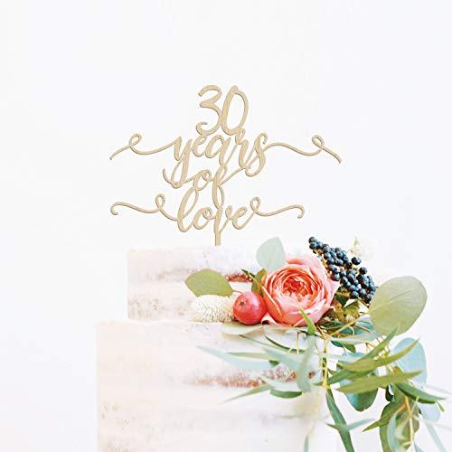 30e verjaardag taart topper, 30 jaar geliefd, aangepaste taart topper, 30e bruiloft verjaardag taart topper, rustieke taart topper, 30 jaar gezegend