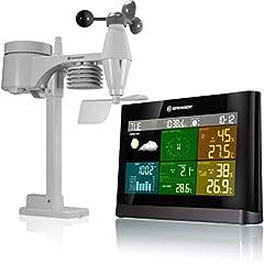 Bresser Weather Station Radio met Outdoor Sensor Weather Center met 5-in-1 buitensensor (temperatuur, luchtdruk, vochtigheid, windmeter, regenmeter)*