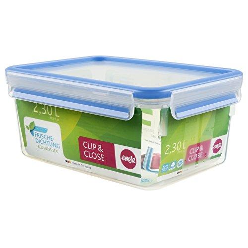 Emsa 508544 Rechteckige Frischhaltedose mit Deckel, 2.3 Liter, Transparent/Blau, Clip & Close