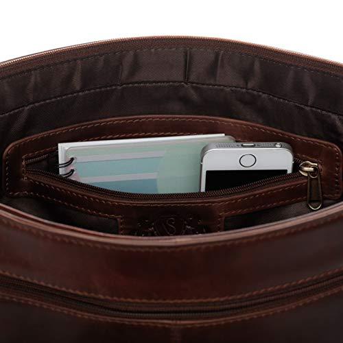 SID & VAIN® Borsa tracolla porta pc vera pelle vintage SPENCER grande cartella cuoio laptop computer portatile 15 pollici uomo cuoio marrone