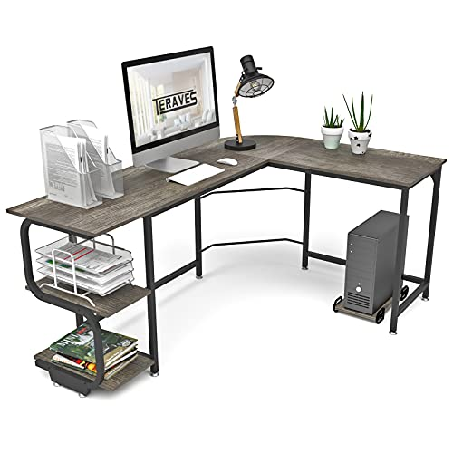Teraves Reversible L Shaped Desk with Shelves Round ...