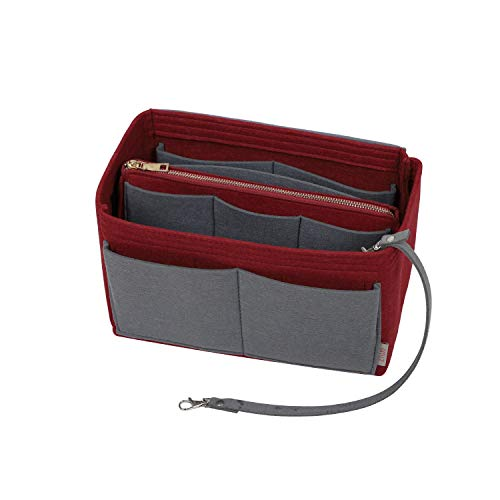 Purse Organizer Insert, Felt Bag organizer with zipper, Handbag & Tote Shaper, Fit Speedy, Neverfull, Tote (Large, Wine Red and Washed Light Grey)