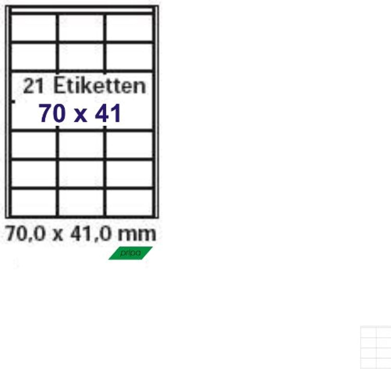 Pripa - Etiketten 70 x 41 - 21 Stueck auf A4 - 500 Blatt DIN A4 selbstklebende Etiketten 3481 B00GYFJEQ6  | Verkauf