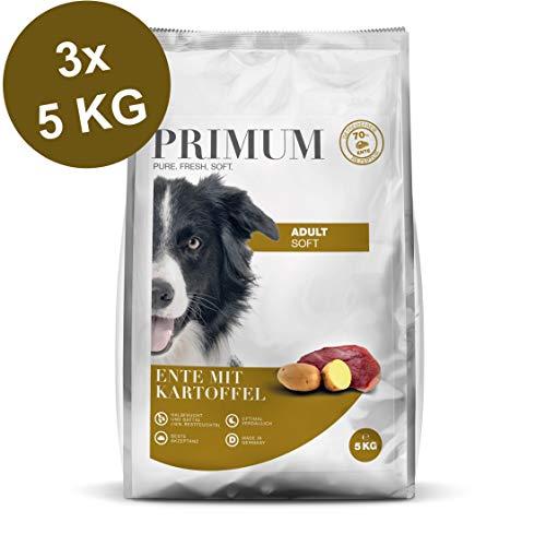 Primum | 15 kg | Halbfeuchtes Trockenfutter für Hunde | getreidefrei | Soft Ente mit Kartoffel | Extra viel Fleisch | Optimal verdaulich | Herstellung in Deutschland